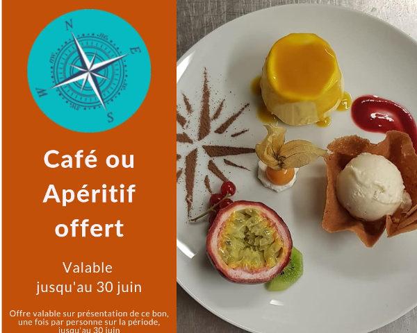 Apéritif ou café offert, pour les visiteurs de notre site web