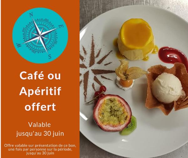 Offre Web : Apéritif ou Café offert sur présentation de ce bon